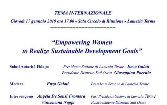 "Convegno: ""Empowering Woman to Realize Sustainable Development Goals""."