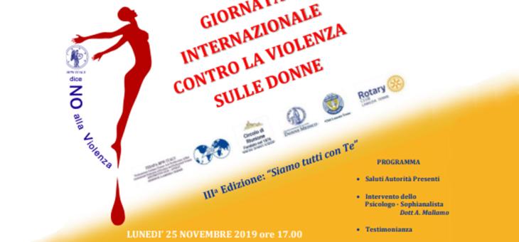 Giornata Internazionale contro la violenza sulle Donne – 25 Novembre 2019