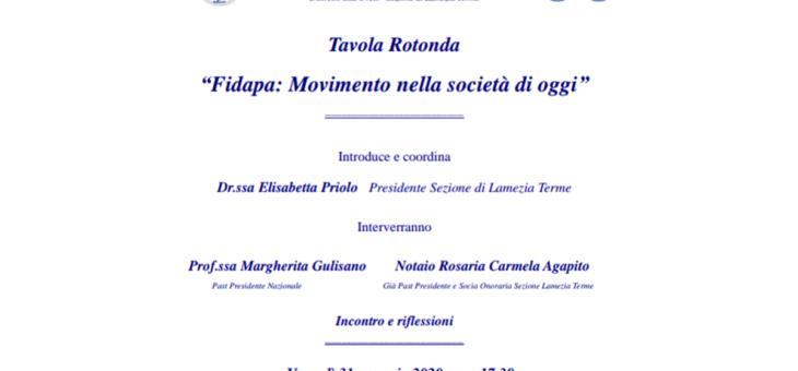 """""""Fidapa: Movimento nella società di oggi"""" – 31 gennaio 2020"""